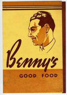 benny s good food restaurant menu 1940 s