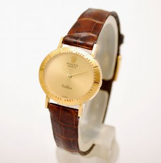 Rolex Geneve Cellini Ref 4081 Solid 18K Yellow Gold Manual Wind Ladies