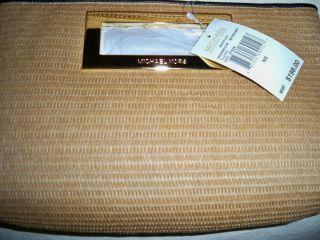 Michael Kors Berkley Clutch ~ Soft straw w/ black leather trim