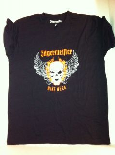 JAGERMEISTER BIKE WEEK FLAMING FLYING SKULL BLACK XL T SHIRT