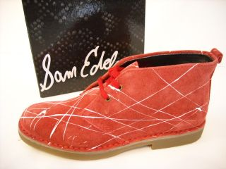 wow sam edelman red suede bernadette ankle boot 10 new