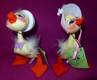 Vintage Annalee 5 Easter Parade Girl & Boy Duckling 1972 1982