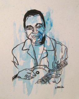 AFRICAN AMERICAN ART JAZZ GUITARIST GEORGE BENSON MUSIC PAINTING
