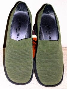 Womens 8.5 BERNE MEV Olive Green Stretch Fabric Comfort Shoes