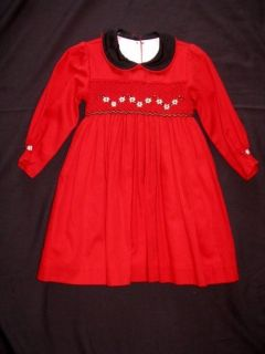 Boutique WillBeth Willbeth 12 M MO Girl Smocked Red Black Daisy Dress