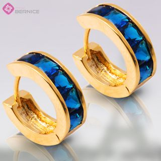 Blue Sapphire Yellow Gold GP Earings Hoop Earrings