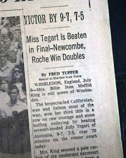 Billie Jean King Wins Womens Singles Wimbledon Tennis Title 1968 Old
