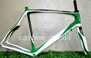 Full Carbon White Green Frame Road Bike Frameset Bicycle Frame Fork 52
