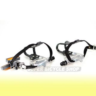 New VP Road Bike Pedals with Integrated Toe Clips Cages Straps