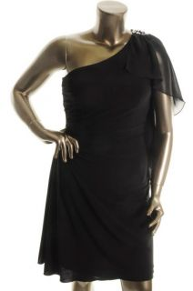 Betsy Adam New Black Chiffon Ruched Sequined One Shoulder Evening