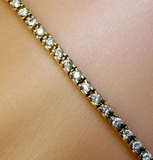 1c 72 Diamond 14k Yellow Gold Class Straight Line Tennis Bracelet $