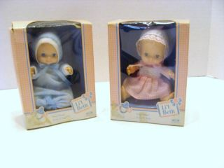 Lot of 2 LiL Beth Vintage Vinyl Baby Dolls Pink Blue New in The Box 6