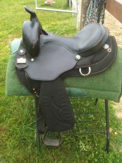 Big Horn Cordura 309 western saddle size 16 Black w leather gel padded