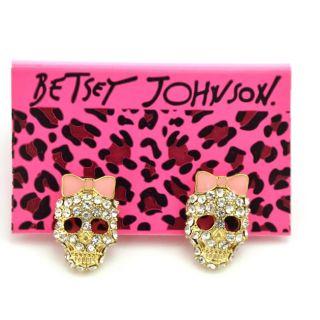 Original Betsey Johnson Bow Crystal Skull Earrings JB26