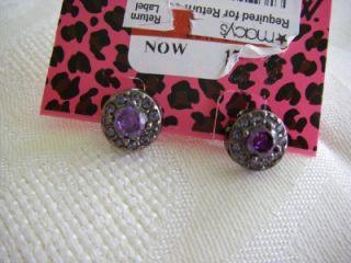 Authentic Betsey Johnson Iconic Hematite Rhinestones Purple Crystal
