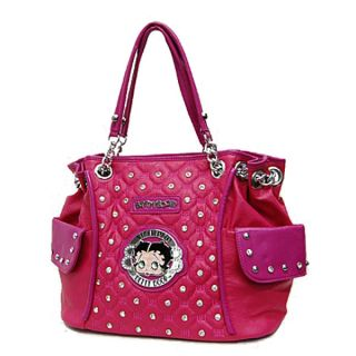 Betty Boop Signature Quilted Studs Side Pockets Hobo Handbag Purse