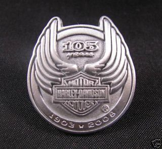 105 Years 2008 Harley Motorcycle Biker Vest Jacket Pin