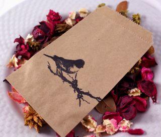 Mini Kraft Brown Favor Treat Paper Bags Shabby Bird 25
