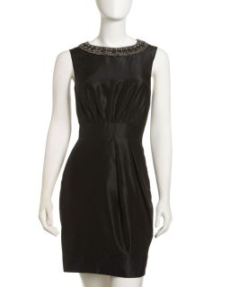 Bianca Nero Beaded Neck Taffeta Dress