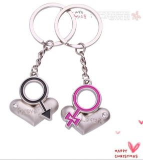 1pair Lover Couple Keychain Key Chain 2pcs Keyrings Rings Heart