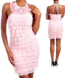 Romantic Pink Halter Ruffle Layer Bibb Necklace Dress