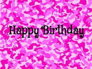 Pink Camo Edible Image Cake Decoration Birthday Party Topper Favor