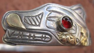 Bill J Wilson NW Tlingit Chief Wolf Bracelet Sterling Gold CA1940S