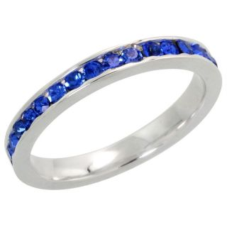 Eternity Band September Birthstone Sapphire Crystals 925 Ring