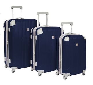 beverly hills country club malibu 3 piece hardside spinner luggage set