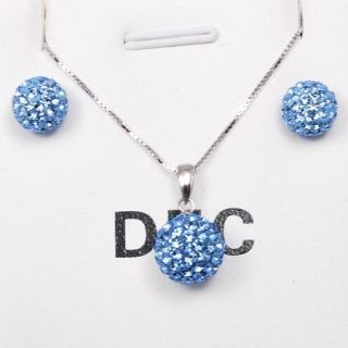 Crystal Ball Earrings Necklace Jewelry Set Dec Birthstone