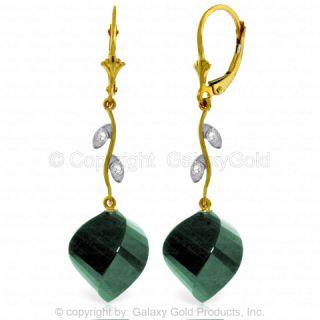 Natural Emerald Gemstones Diamonds Lever Back Dangles 14k Solid Gold