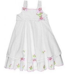Baby Biscotti Girls Knitted Flower One Piece Cotton Dresses White Size