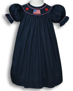 Girl Patriotic US Flag Smocked Bishop Dress 5 yrs 16745