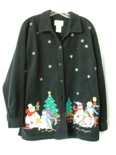 BLACK Snowman Christmas Fleece Shirt Top Jacket  Jean Bice LG