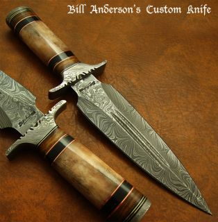 Bill Andersons RARE 1 of A Kind Custom Damascus Art Dagger Knife