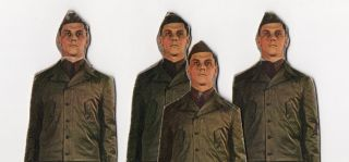 Bizarre Homemade Photo Construction Soldier x 4 1960s