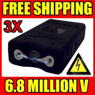 LOT Black 6 8 Million Volt Mini Stun Gun LED Light Rechargeable