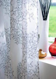IKEA White Black Leaf Window Sheer Curtains 57 x 98