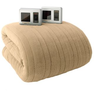 Biddeford Plush Taupe Electric Blanket QUEEN(original $159.99)