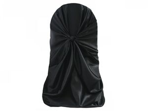 100 Black Satin Universal Self Tie Chair Covers Wedding