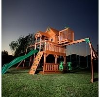 Outdoor Cedar Wood Play Set Big Playset Backyard Swing Wooden Deck