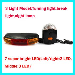 New 3 in 1 Bike Bicycle Cycling 7 LED Turn Signal Brake Light Lamp