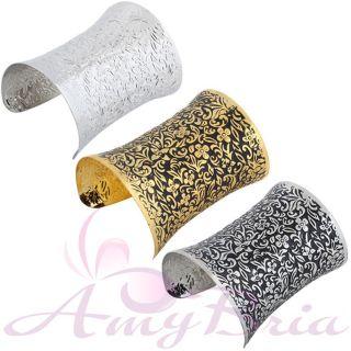Gold Black Tone Flower Cuff Bracelet Jewelry Charm New S1