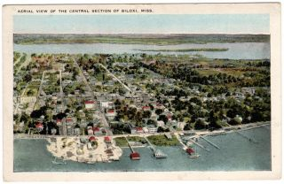 Biloxi Mississippi MS Areal View of Central City Postcard