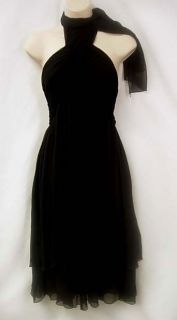 Black Halo Layered Gauzy Silk Chiffon Halter Dress Sz M