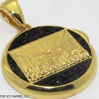 Gold Finish Iced Out Last Supper Medallion Pendant P193