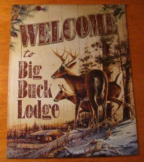 Artwork Rustic Cabin BIG BUCK LODGE DEER Hunter Hunting Sign NEW