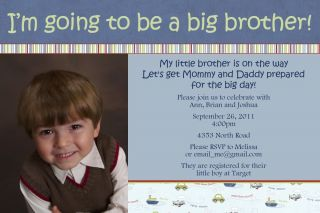 Personalized Big Brother Baby Shower Invitation