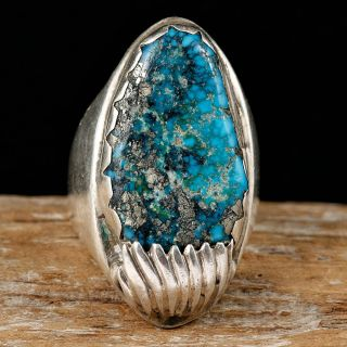 Big Daddy Chiefs Ring Navajo Sterling Silver Turquoise 11 Old Pawn