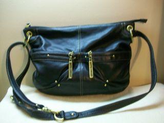 Stone Mountain Black Leather Hobo Handbag